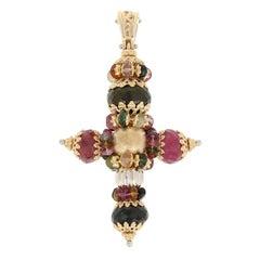 Rondelle Tourmaline Cross Enhancer Pendant, 18 Karat Yellow Gold Faith