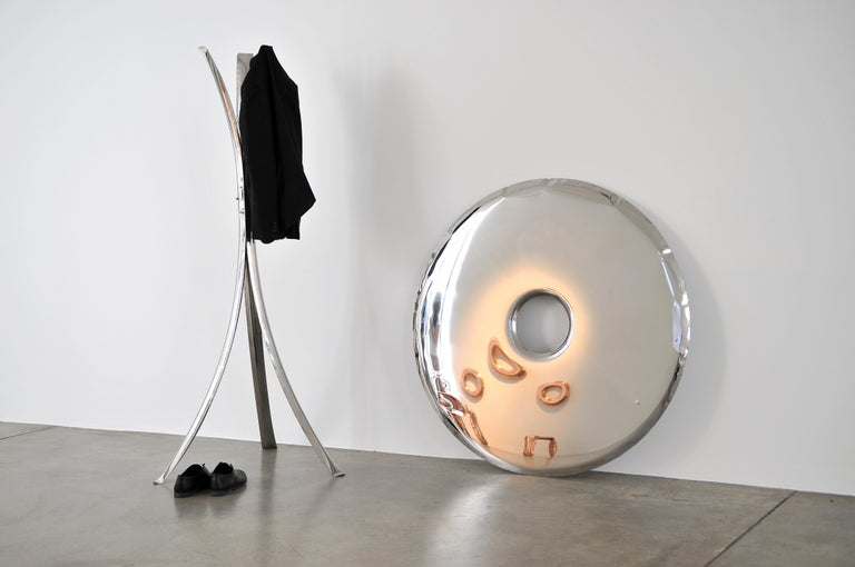 Rondo 150 Mirror in Polished Stainless Steel by Zieta In Excellent Condition For Sale In New York, NY