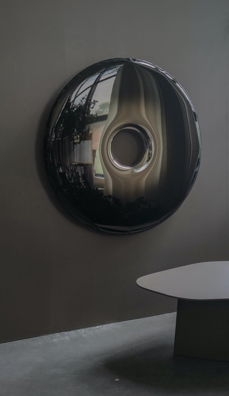 Rondo 95 Polished Dark Matter Color Stainless Steel Wall Mirror by Zieta In New Condition For Sale In Beverly Hills, CA