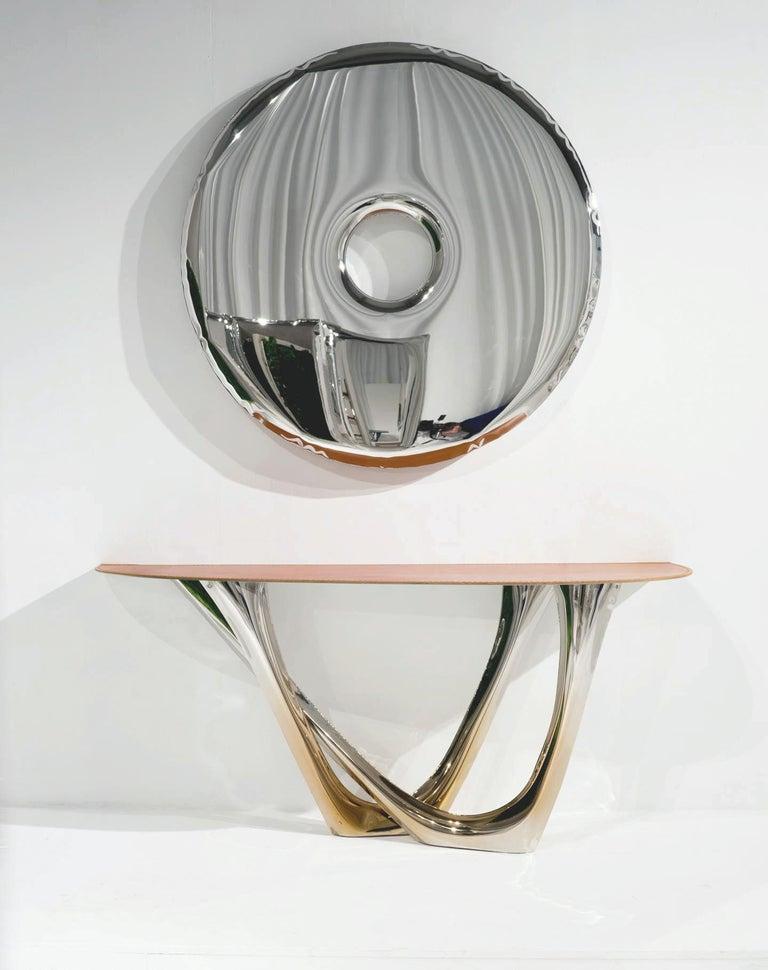 Organic Modern Rondo Original Decorative Wall Mirror in Stainless Steel, Zieta For Sale