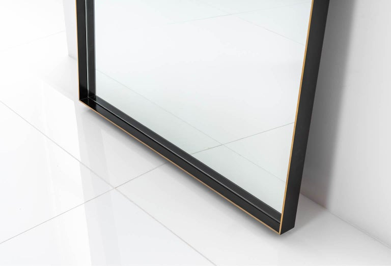 Modern Rone Floor Mirror with Brass Frame and Patinated & Burnished Edges For Sale