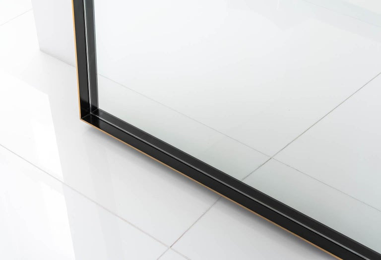 American Rone Floor Mirror with Brass Frame and Patinated & Burnished Edges For Sale