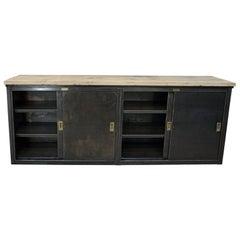 Ronéo Paris 4 Sliding Doors Industrial Iron Cabinet, circa 1950