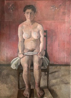 """""""Ana Sitting"""" Oil on canvas by Roni Taharlev"""