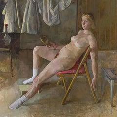 """Aya Sitting"" oil on canvas by Roni Taharlev"