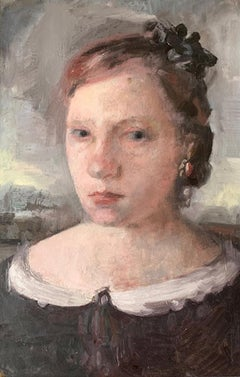 """""""Girl With A Ribbon"""" Oil on board by Roni Taharlev"""
