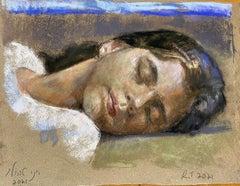 """Iris"" Oil Pastel on handmade paper 18"" x 15"" framed by Roni Taharlev"