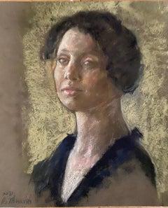 """Julieta"" Oil Pastel on handmade paper framed by Roni Taharlev"