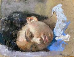 """Mahalia Sleeping"" Oil Pastel on handmade paper framed by Roni Taharlev"