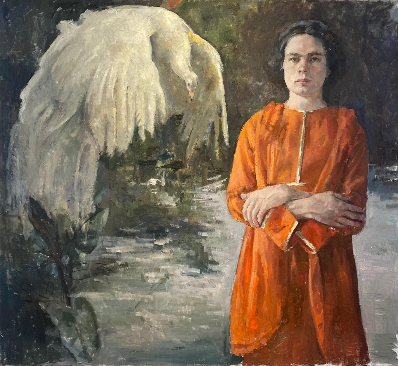 """""""White Eagle"""" Oil on canvas 48"""" x 43"""" by Roni Taharlev"""