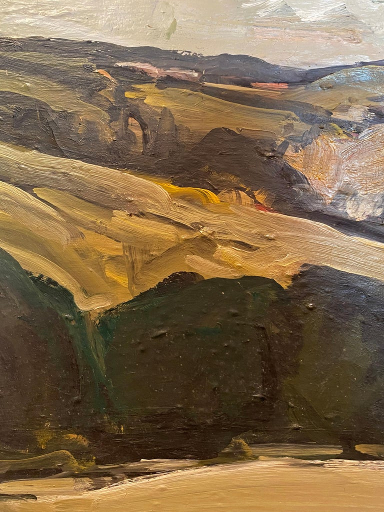 Fantastic abstract landscape by New York Artist Ronnie Cutler (1924-2014) found in a period hand carved wood frame with gilt accent. Signed Ronnie Cutler.  Looking at this painting you suddenly feel you are transformed to the lush country side with