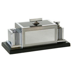 Ronson Art Deco Combination Humidor and Touch Tip Table Lighter Black and Chrome