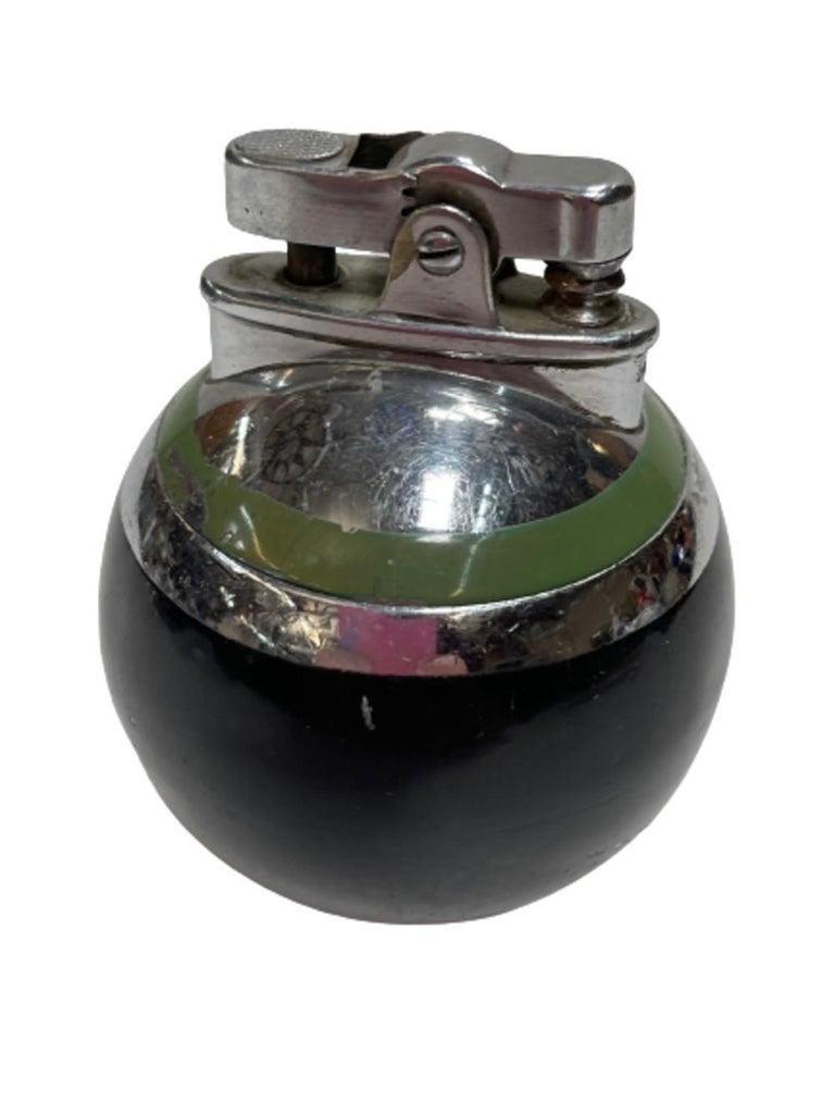 Art Deco Ronson Green Stripe Rondelight Junior Table Lighter, 1929 For Sale