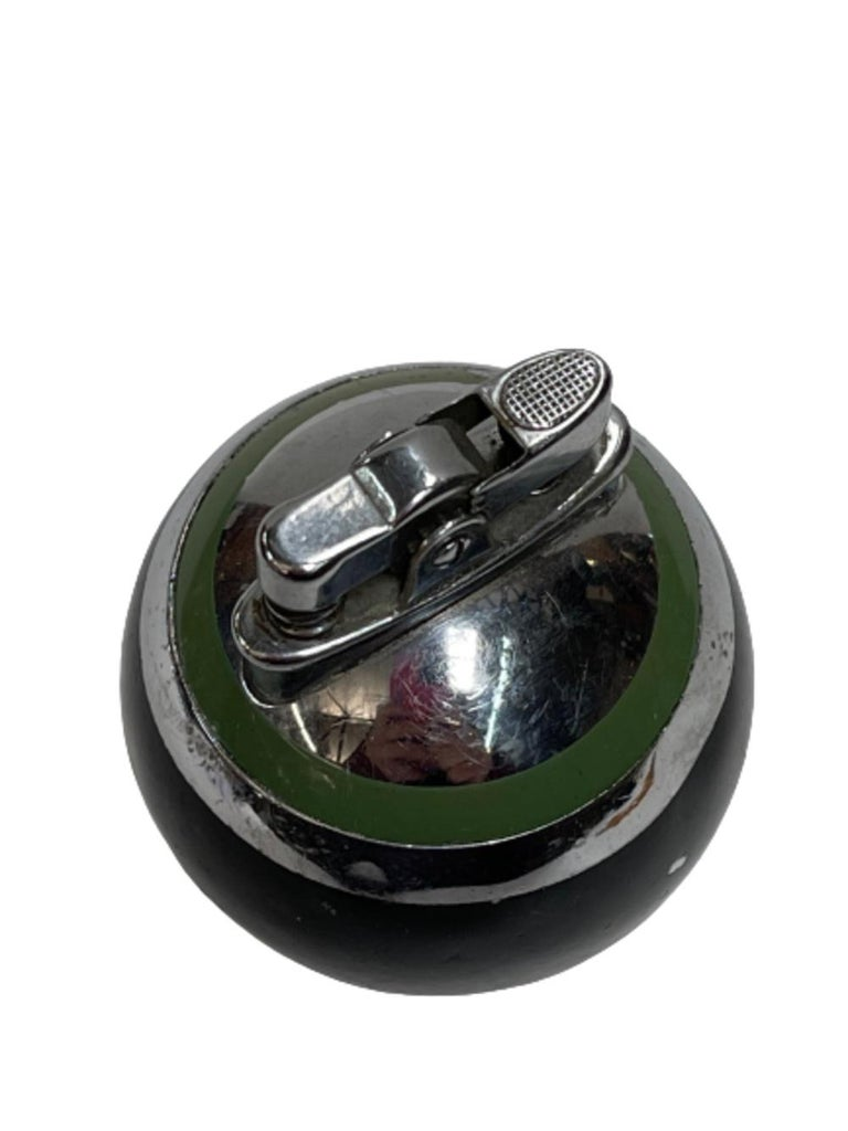 Ronson Green Stripe Rondelight Junior Table Lighter, 1929 In Good Condition For Sale In Van Nuys, CA