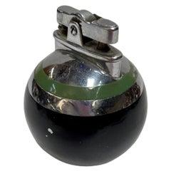 Ronson Green Stripe Rondelight Junior Table Lighter, 1929