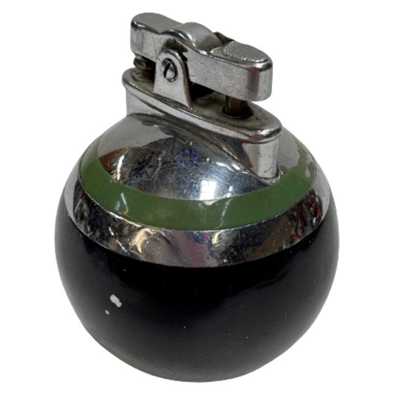 Ronson Green Stripe Rondelight Junior Table Lighter, 1929 For Sale