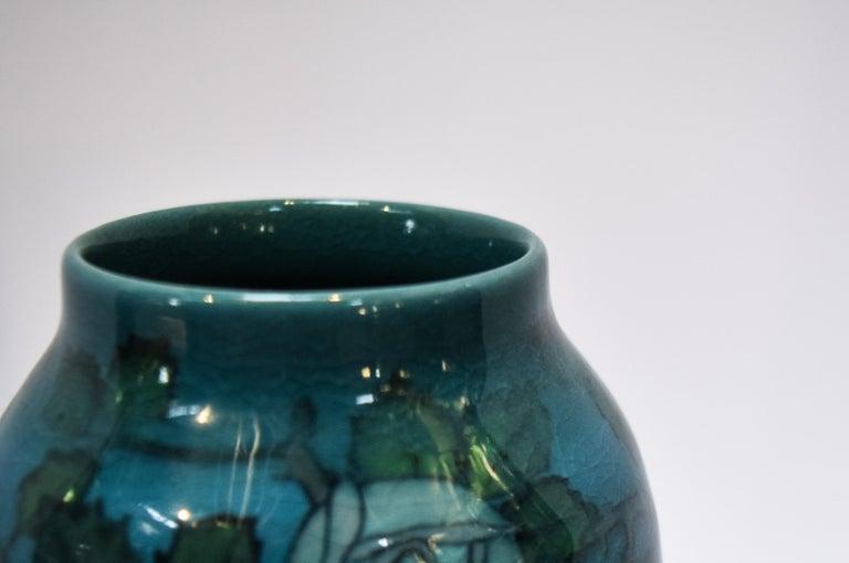 Arts and Crafts Rookwood Blue Mackintosh Rose Vase For Sale