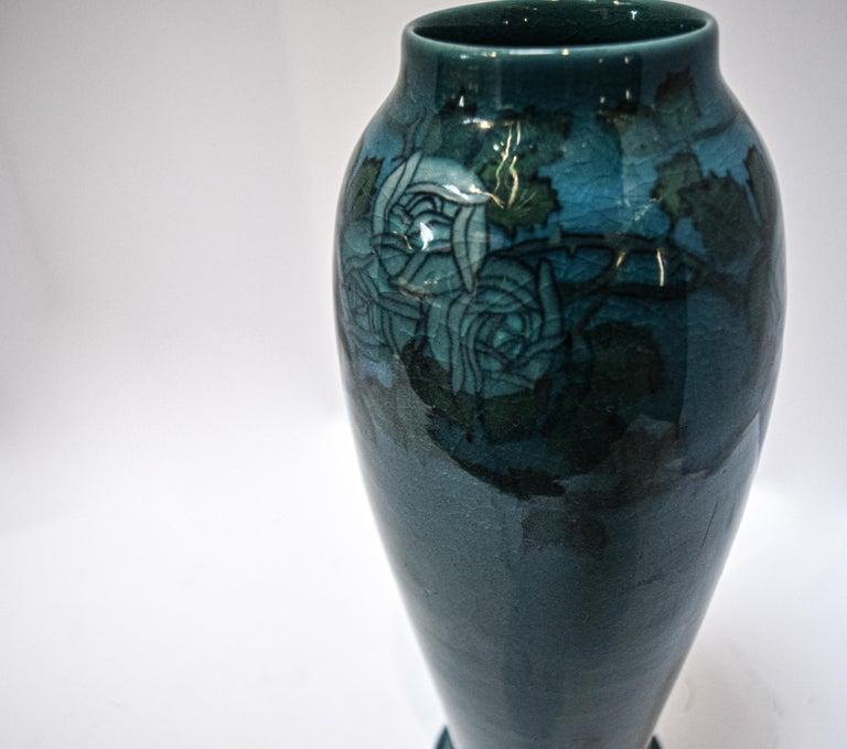Glazed Rookwood Blue Mackintosh Rose Vase For Sale