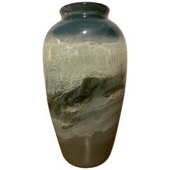 Rookwood Glazed Pottery Vase with River Rapids Scene and Fish by E. T. Hurley