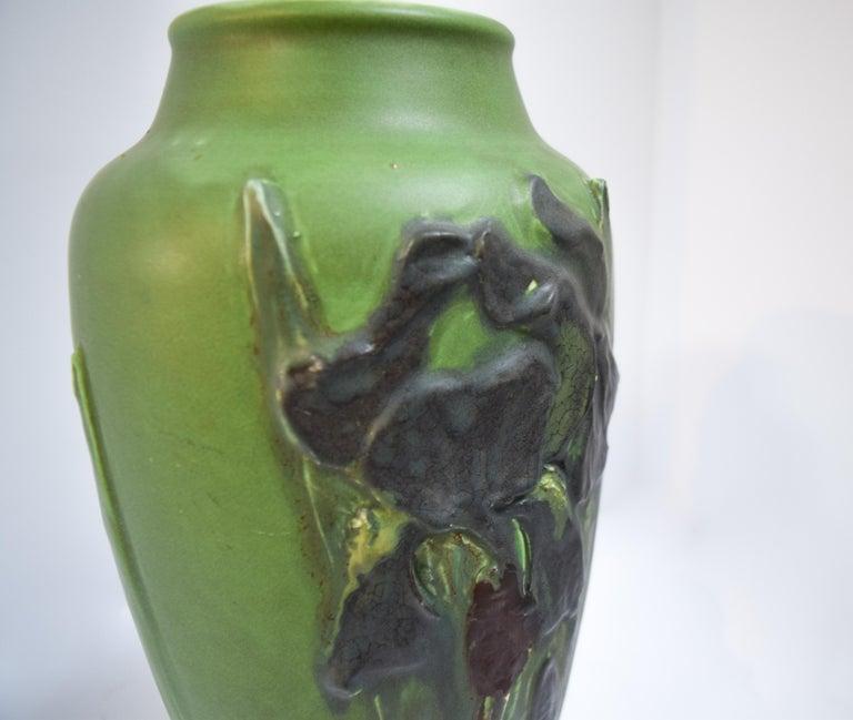 American Rookwood Iris Relief Vase, Albert Pons For Sale