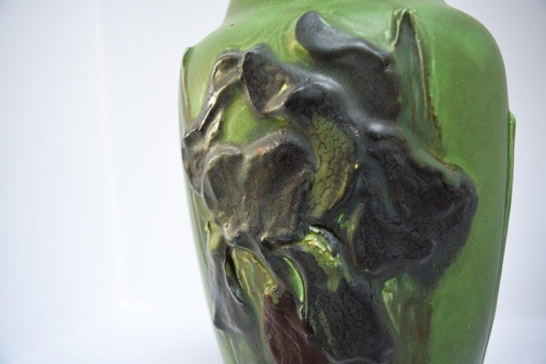 Glazed Rookwood Iris Relief Vase, Albert Pons For Sale