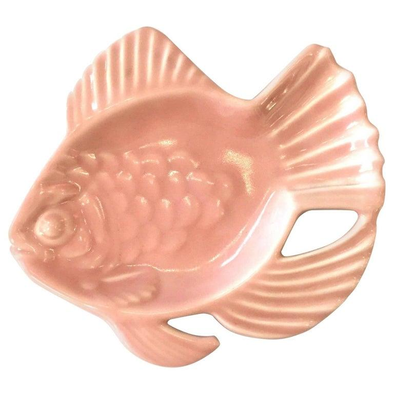 Mid-Century Modern Rookwood Pink Pottery Aloha Fish Candy Dish For Sale