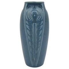 Rookwood Pottery Buttressed Peacock Feather Vase, 1921