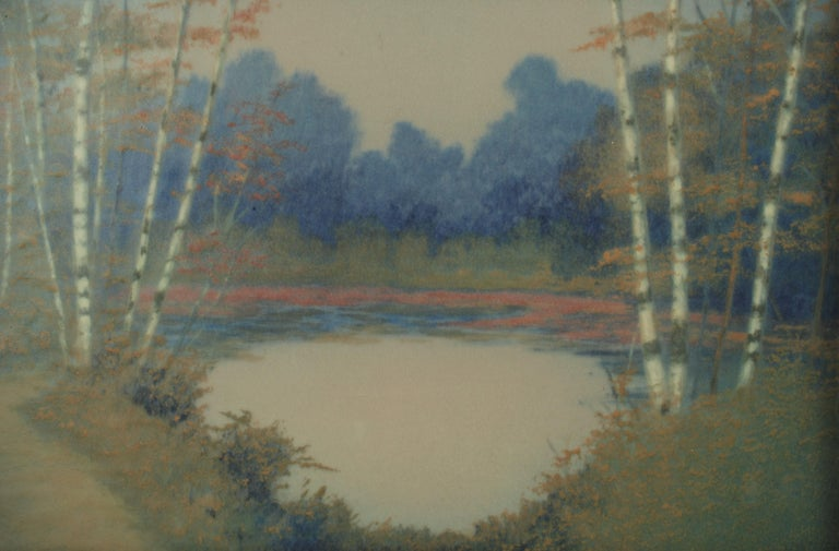 Rookwood Pottery Hand Painted Vellum Glaze Scenic Plaque by E.T. Hurley In Good Condition For Sale In Cincinnati, OH