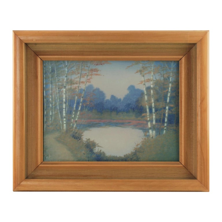 Rookwood Pottery Hand Painted Vellum Glaze Scenic Plaque by E.T. Hurley For Sale