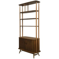 Original Room Divider or Bookcase in Elm and Beech by Ercolani