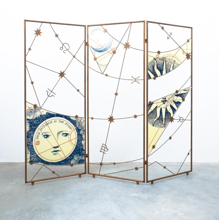 Room divider screen Paravant, Italy, circa 1955  This very large screen in the style of Fornasetti has been handmade from iron and screen-printed Lucite. It moves on customized casters and is in very good condition. Measurements are 96