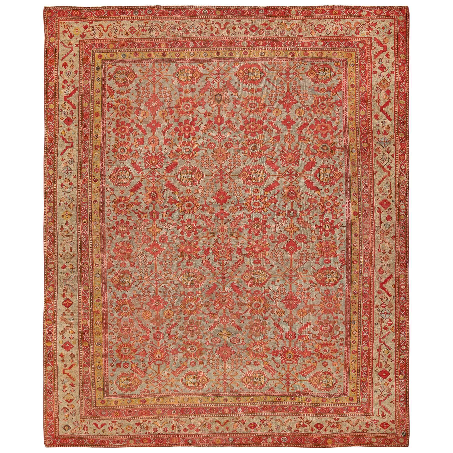 Room Size Antique Decorative Turkish Oushak Rug. Size: 11 ft 8 in x 14 ft