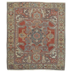 Room Size Antique Hand Knotted Wool Red Persian Heriz Rug