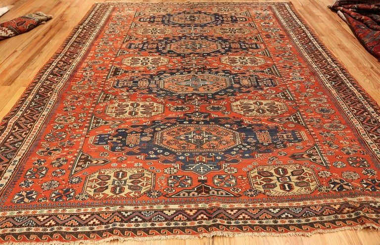 Room Size Antique Soumak Caucasian Rug. Size: 8 ft 2 in x 10 ft 2 in For Sale 3
