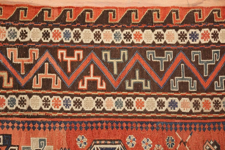Sumak Room Size Antique Soumak Caucasian Rug. Size: 8 ft 2 in x 10 ft 2 in For Sale
