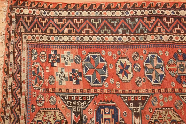 Hand-Woven Room Size Antique Soumak Caucasian Rug. Size: 8 ft 2 in x 10 ft 2 in For Sale