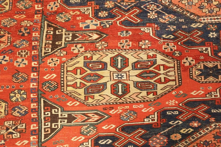 Wool Room Size Antique Soumak Caucasian Rug. Size: 8 ft 2 in x 10 ft 2 in For Sale