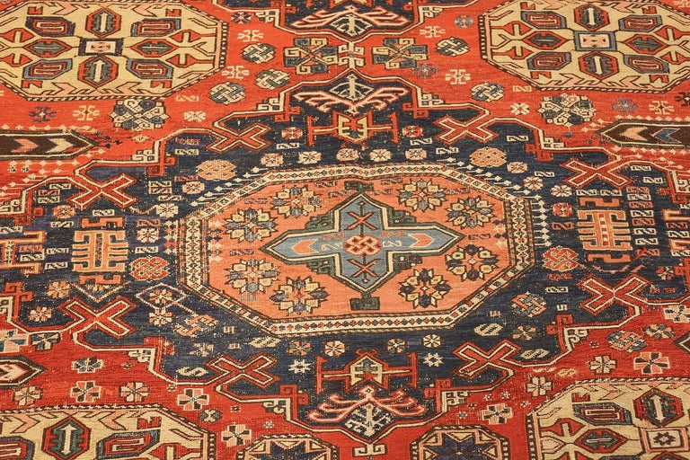 Room Size Antique Soumak Caucasian Rug. Size: 8 ft 2 in x 10 ft 2 in For Sale 1