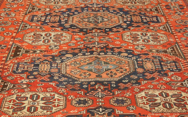 Room Size Antique Soumak Caucasian Rug. Size: 8 ft 2 in x 10 ft 2 in For Sale 2