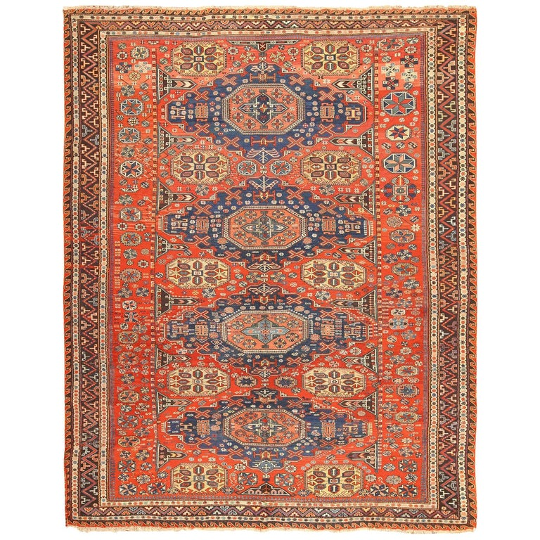 Room Size Antique Soumak Caucasian Rug. Size: 8 ft 2 in x 10 ft 2 in For Sale