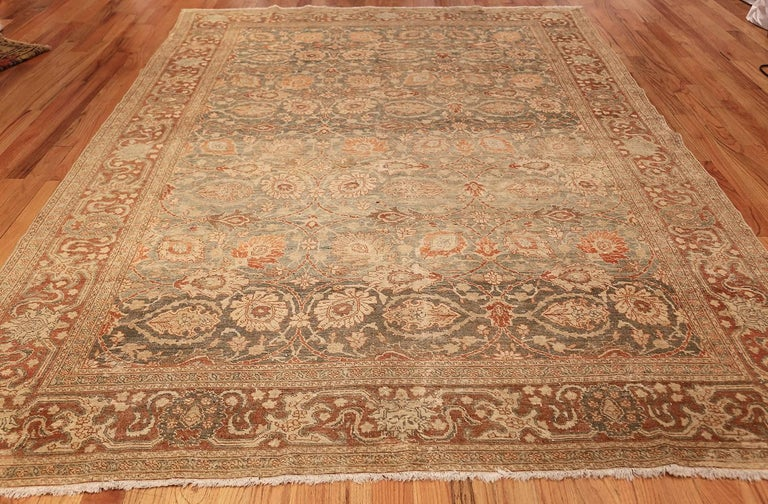 Hand-Knotted Room Size Antique Tabriz Persian Rug. Size: 7 ft 6 in x 10 ft 10 in  For Sale