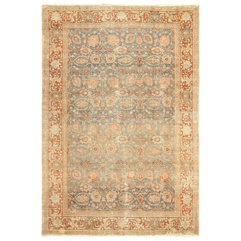 Room Size Antique Tabriz Persian Rug. Size: 7 ft 6 in x 10 ft 10 in  For Sale