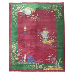 Room Size Full Pile Raspberry Ground Antique Chinese Art Deco Rug