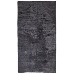 Room Size Indian Wool/Viscose Charcoal Area Rug