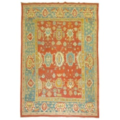 Room Size Orange Field Teal Border Late 19th Century Antique Turkish Oushak Rug