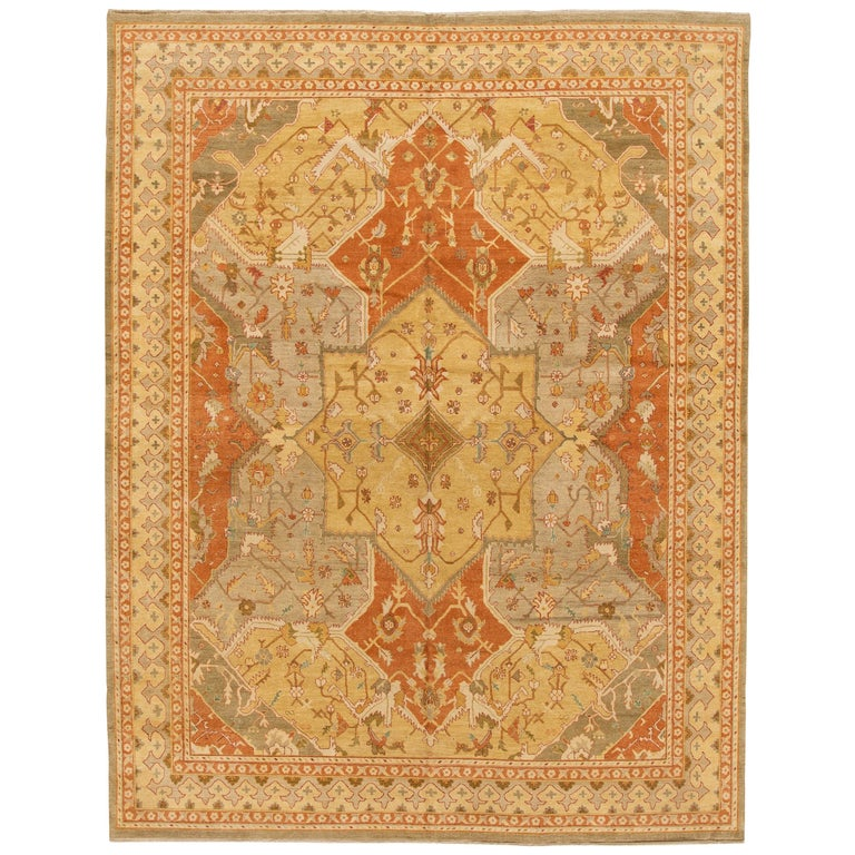 Oushak Rugs For Sale: Room Size Polonaise Design Oushak Style Rug For Sale At