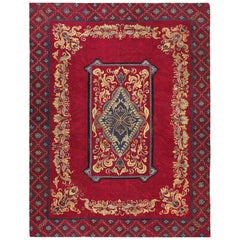 Room Size Red Antique American Hooked Rug. Size: 9 ft x 12 ft 3 in