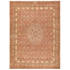 Room Size Rust Color Antique Persian Tabriz Rug. Size: 10 ft 6 in x 14 ft 4 in