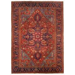 Room-Size Semi-Antique Heriz Rug Carpet, circa 1930