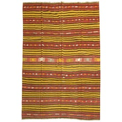 Room Size Striped Turkish Kilim